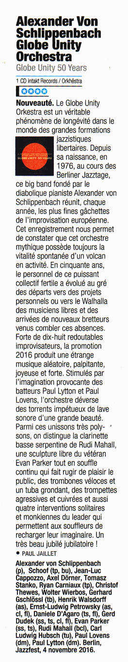 jazz magazine reviews globe unity 50 Alexander von Schlippenbach