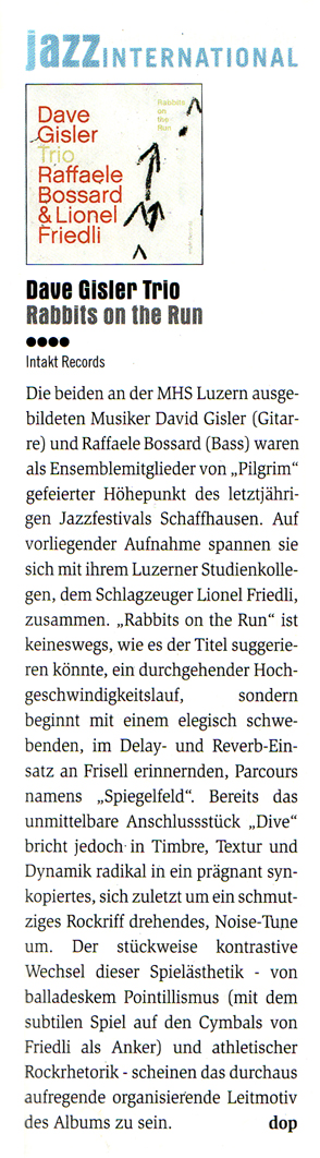 Achim Doppler Concerto Magazine reviews Dave Gisler Trio