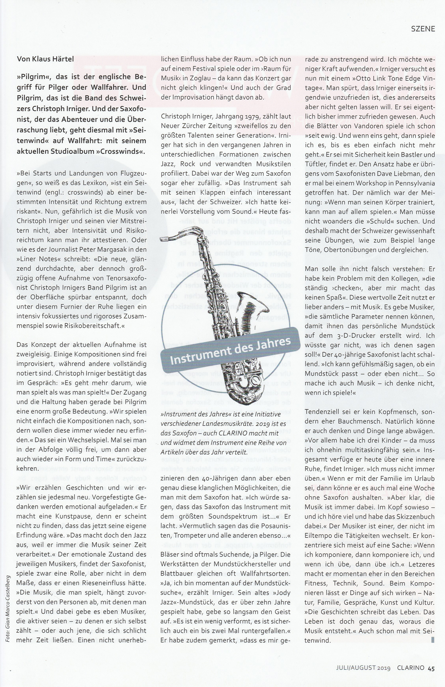 Reviews Christoph Irniger Pilgrim Crosswinds Intakt Cd 323