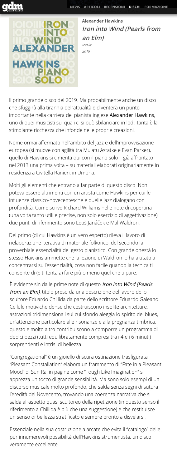 enrico bettinello reviews alexander hawkins Iron Into Wind for Giornaledellamusica, Italy